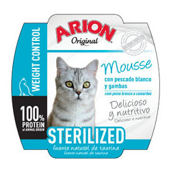 Arion Original Cat Wet Sterilized 70g - Tarrina de Mousse de Pescado Blanco y Gambas