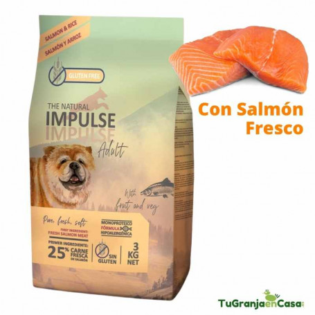 The Natural Impulse Salmon 12 Kilos - Pienso Monoproteico para perros