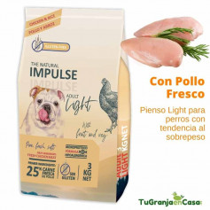The Natural Impulse Dog Light Chicken saco 12 Kilos - Pienso para perros con tendencia al sobrepeso